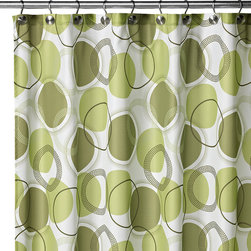 Watershed Circle Central Fabric Shower Curtain - 100 percent polyester. Machine wash.