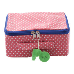 Pakhuis Oost - Dotted Fabric Suitcase, Pink with White Dots - Perfect for decoration, storing small treasures or playing out a little travel adventure throughout the house, this polka-dot suitcase features a colorful zipper and cheerful tag.