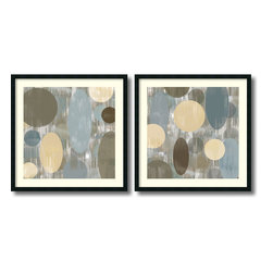 Amanti Art - Brent Nelson 'Letting Go- set of 2' Framed Art Print 34 x 34-inch Each - Unique circular shapes and intriguing pastel tones come together in an appealing abstract art set - Letting Go by Brent Nelson.