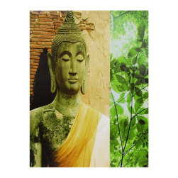 Oriental Furniture - Yellow Draped Buddha Canvas Wall Art - Fine art print of a statue of the Buddha, who found enlightenment in meditation under an Indian Bodhi tree. Photograph of a traditional Thai statue with flame usnisa top knot, elongated ear lobes, broad shoulders, and saffron silk sash. Statue image is printed alongside a photograph of a bright green leafy branch.
