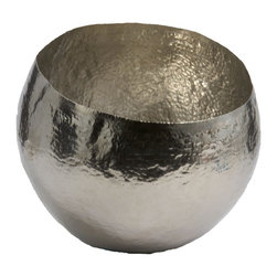 Lazy Susan - Lazy Susan LZS-346017 Hammered Nickel - Plated Brass Bowl - Looking for a decorative bowl in which to place your collection of sea glass? Or simply an unusual piece of art with which to adorn your home? Either way this gorgeous hammered-nickel plated glass bowl will delight. It comes in two sizes.