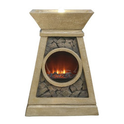 Alpine - Fire Fountain with LED Lights and Round Fire Box - 20 inch - These fiberglass fountains have the look of natural, gray stone in a classical design. Multiples streams of water flow, and the fireplace below, create a relaxing and meditative atmosphere. They can be placed indoors or out.Features: