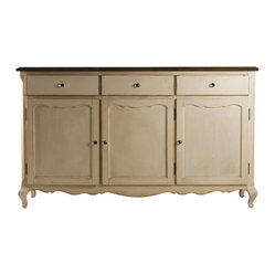 Zentique - Joceline Chest - Here's a beautiful, versatile footed chest for your traditional home — the dining room, bedroom or wherever its ample cabinets and drawers serve you best. Crafted from reclaimed oak and given a delicate off-white finish, it is distinctive yet fits seamlessly with other pieces.