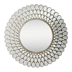 """Kichler - Contemporary Kichler Teardrop Silver and Glass 35"""" Framed Wall Mirror - From Kichler's Teardrop Collection this distinctive wall mirror add some gleaming style to any room. Frame consists of three rows of teardrop mirror glass insets in a distressed silver leaf frame. Large round mirror glass at center. Catches the light in wonderful ways and opens up any room. From the Teardrop Collection. Frame composed of three rows of teardrop mirror insets in silver frame. Distressed silver leaf finish. 35"""" wide. 3/4"""" deep. Mirror glass only is 18 1/2"""" wide.  From the Teardrop Collection.  Frame composed of three rows of teardrop mirror insets in silver frame.  From the Kichler lighting collection.  Distressed silver leaf finish.  35"""" wide.  3/4"""" deep.  Mirror glass only is 18 1/2"""" wide."""