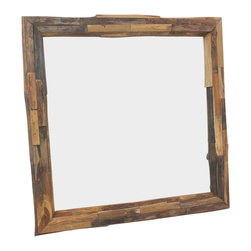 Kammika - Mirror Natural Edge Farmed Teak Branch 30x30 inch w Eco Friendly Tung Oil Finish - Our Farmed Teak Branch Wood Framed Mirror Natural Edges Square 30 inch width x 30 inch length with Eco Friendly, Natural Tung Oil Finish is an artistic creation of interlaced branch pieces of varying heights and widths; it is truly a rustic masterpiece. Farmed Teak branch pieces are attached to a solid Farmed Teak wood frame, with the outer and inner portion showing the natural edges. The bias cut of the wood reveals the swirls of grain inside the teak branches. This mirror presents with an extra large view size with true 5mm mirror glass. The mirror glass retainer bars are solid 1 inch Farmed Teak; there are no metal tabs. These can be used in outdoor spaces, as the natural oils create a water resistant surface. The Farmed Teak wood is rubbed in natural Tung oil that is polished to a matte, water resistant and food safe finish. The light and dark portions of wood turn to darker shades of brown over time and the alkaline in the oils creates a honey orange color. These natural oils are translucent, so the wood grain detail is highlighted. There is no oily feel, and cannot bleed into carpets. Craftspeople from the Chiang Mai area in Northern Thailand create these pieces with the simplest of tools. Each piece is Work of Art! We make minimal use of electric hand sanders in the finishing process. All products are dried in solar or propane kilns. No chemicals are used in the process, ever. After each piece is cut, dried, sanded, and rubbed with eco friendly oil, they are packaged with cartons from recycled cardboard with no plastic or other fillers. The color and grain of your piece of Nature will be unique, and may include small checks or cracks that occur when the wood is dried. Sizes are approximate. Products could have visible marks from tools used, patches from small repairs, knot holes, natural inclusions or holes. There may be various separations or cracks on your piece when it arrives. There may be some slight variation in size, color, texture and finish color.Only listed product included.