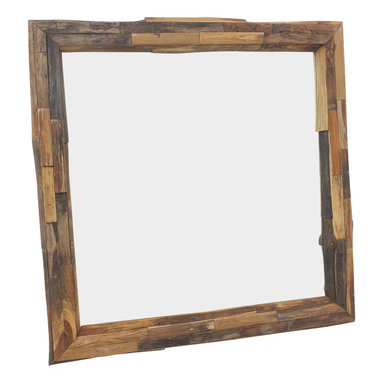Kammika - Mirror Natural Edge Farmed Teak Branch 30x30 inch w Eco Friendly Tung Oil Finish - Our Farmed Teak Branch Wood Framed Mirror Natural Edges Square 30 inch width x 30 inch length with Eco Friendly, Natural Tung Oil Finish is an artistic creation of interlaced branch pieces of varying heights and widths; it is truly a rustic masterpiece. Farmed Teak branch pieces are attached to a solid Farmed Teak wood frame, with the outer and inner portion showing the natural edges. The bias cut of the wood reveals the swirls of grain inside the teak branches. This mirror presents with an extra large view size with true 5mm mirror glass. The mirror glass retainer bars are solid 1 inch Farmed Teak; there are no metal tabs. These can be used in outdoor spaces, as the natural oils create a water resistant surface. The Farmed Teak wood is rubbed in natural Tung oil that is polished to a matte, water resistant and food safe finish. The light and dark portions of wood turn to darker shades of brown over time and the alkaline in the oils creates a honey orange color. These natural oils are translucent, so the wood grain detail is highlighted. There is no oily feel, and cannot bleed into carpets. Craftspeople from the Chiang Mai area in Northern Thailand create these pieces with the simplest of tools. Each piece is Work of Art! We make minimal use of electric hand sanders in the finishing process. All products are dried in solar or propane kilns. No chemicals are used in the process, ever. After each piece is cut, dried, sanded, and rubbed with eco friendly oil, they are packaged with cartons from recycled cardboard with no plastic or other fillers. The color and grain of your piece of Nature will be unique, and may include small checks or cracks that occur when the wood is dried. Sizes are approximate. Products could have visible marks from tools used, patches from small repairs, knot holes, natural inclusions or holes. There may be various separations or cracks on your piece whe