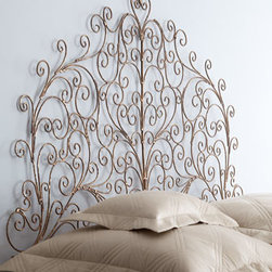 "Horchow - Bronwyn Twin Headboard - Ultra-feminine headboard features ornate scrolls in a lacy pattern for an open, airy feel. Handcrafted of iron. Hand-painted, dark ""Italian Gold"" finish. Twin headboard, 40""W x 1""D x 61""T. Queen headboard, 60""W x 1""D x 72""T. Imported. Please note..."