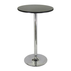 "Winsome - Winsome Wood Black & Chrome Pub Table - ""Simple Round Pub Table for your kitchen or game room. Match with our Air Lift Stool makes it a fun set.Dimensions (W x L x H): 23.73"""" x 23.7"""" x 39.8""""Weight: 24 lbs.Assembly RequiredMatch this table with Air lift Stool # 93329 or # 93131"""