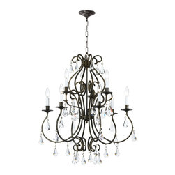 Crystorama - Crystorama 5019-EB-CL-MWP Chandelier - Grace never goes out of style. Ashton is a collection designed for today, tomorrow and everyday. It takes the notion of crystal chandeliers beyond traditional. Features modern hand-painted finishes, graceful lines and updated crystal shape. The hand cut crystal is cut by hand in two stages on an iron wheel and then on a sandstone wheel. Each crystal is polished on a wood wheel with marble dust.
