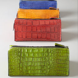 Horchow - Crocodile-Embossed Travel Bag - Exclusively ours. Zippered travel bag of crocodile-embossed leather has two interior pockets with removable mirror. Made of calfskin. Select color when ordering. Made in Germany.