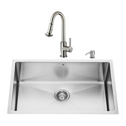 """VIGO Industries - VIGO All in One 30-inch Undermount Stainless Steel Kitchen Sink and Faucet Set - Add elegance and style to your kitchen with a VIGO All in One Kitchen Set featuring a 30"""" Undermount kitchen sink, faucet, soap dispenser, matching bottom grid and sink strainer."""