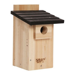 Nature's Way - Cedar Bluebird Viewing House - Bluebird Box House with viewing window is made of insect and rot resistant premium cedar and stainless steel screws.