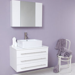 Fresca - Fresca Modello White Modern Bathroom Vanity w/Ceramic Sink & Medicine Cabinet - This vanity is great for those looking to make a subtle statement to their location with solid oak wood construction, cultured marble nestled between a white finish, white ceramic basin, complete with brushed nickel hardware. Wonderfully designed with a combination of playful geometrical shapes. Great for a bathroom where serenity is a must with style and elegance.