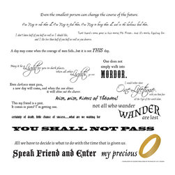 Dana Decals - Lord of the Rings Quote Collection Wall Decal - LOTR Quotes Compilation Collection with Ring