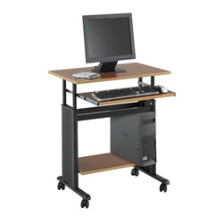 Safco - Muv 28 in. Workstation w Adjustable Height in Cherry - With side panels for hidden cord management, this mobile workstation will be an excellent choice for your home or commercial office decor. Constructed of steel with pressed wood shelves, the workstation has casters for easy mobility and is finished in cherry. Two locking dual wheel carpet casters. Four casters. Decorative molded side panels hide computer cables for a clean appearance. Keyboard shelf extends and retracts under the work surface when not in use. Frame made from steel. Shelves made from compressed wood. Powder coat frame and melamine laminate finish. Worksurface Height: 29 in. to 34 in.. Worksurface Dimensions: 29.5 in. W x 19.75 in. D x 0.75 in.H. Weight Capacity: 100 lbs. (Desk Top), 25 lbs. (Keyboard Tray). Keyboard Shelf Dimensions: 23 in. W x 13 in. D x 0.75 in. H. Bottom Shelf Dimensions: 23.5 in. W x 13.5 in. D x 0.75 in. H. Overall: 29.5 in. W x 22 in. D x  29 in. H (44 lbs.). Assembly InstructionWhat's your Muv? No matter the setting the Muv workstation is the right choice. This mobile workstation is great in the computer lab, library, media center, server room, classroom, faculty lounge, print shop or conference room. It's your Muv.