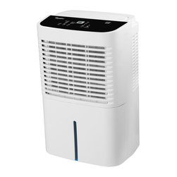 WHIRLA - 70 Pint Dehumidifier, 2 Speed w/Adjustable Humidistat - The Whirlpool AD70GUSD Energy Star 70 Pt. 2-Speed Dehumidifier is an affordable and eco-friendly dehumidifier for large-sized spaces and operates at temperatures as low as 38 degrees Fahrenheit. This Energy Star-qualified model removes 70 pints of damaging moisture per day from spaces up to 4500 square feet. Three operating modes (normal, continuous and auto dry) make this unit a versatile choice. During the dehumidification process, water accumulates in the 2-gallon water tank or is continuously emptied into a drain using a drainage hose such as a standard garden hose (hose not included). Additional features include a programmable 24-hour on/off timer, adjustable humidistat, and full-tank alert/shutoff.Energy Star 2-speed (high/low) dehumidifier for spaces up to 4500 sq. ft.|Removes up to 70 pints of moisture from the air every 24 hours|Operates at very low temperature (38F�)|Three operating modes include normal, continuous and auto dry|Soft-touch electronic controls allows you easily to control the humidity level in your home|24-hour auto on/off timer|Digital display shows relative humidity, temperature and time|Auto restart restores unit to last setting used when power was disrupted|Full-tank indicator light alerts you to when the front-mounted water tank needs to be emptied|Automatic shut-off when 2-gallon water tank is full|  ad70gusd| whirlpool| dehumidifier| 70-pint| 70-pt| 70| pint| pt| 2-speed| 2 speed| energy| star  Package Contents: dehumidifier|air filter|manual|warranty  This item cannot be shipped to APO/FPO addresses