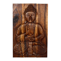 Kammika - Sakyamuni Seated Buddha Panel 24x36 in H Monkey Pod w E Frdly Livos Chestnut Oil - Our Sustainable Monkey Pod Wood Sakyamuni Seated Buddha Wall Panel 24 inch width x 36 inch height in Eco Friendly, Natural food-safe Livos Chestnut Oil Finish is a unique, handmade environmentally friendly work of art. This detailed carving is a rendition of the Enlightened One or Awakened One from the Himalayan foothills commonly known as Sakyamuni. His image is simultaneously uplifting and relaxing. Discover the calming, inspiring effect of Buddha when you display this wall panel which has been carved from joining panels. In order to not waste wood, the nose is a separate piece that is attached by screws on the back side. The panel has 2 embedded flush mount Keyhole hangers for a protruding screw from your wall. Hand carved by craftspeople in Thailand, these are made of wood grown specifically for the woodcarving industry. Rubbed in rich Livos Chestnut Oil creates a water resistant and food safe finish. These natural oils are translucent, so the wood color and grain detail is highlighted and shows through in the rich dark brown tone range that will darken as the wood ages. Polished to a matte finish, there is no oily feel and cannot bleed into carpets. Hand crafted from a sustainable Monkey Pod wood species, we make minimal use of electric hand sanders in the finishing process. All products are dried in solar and or propane kilns. No chemicals are used in the process, ever. After each piece is carved, kiln dried, sanded, and hand rubbed with Livos Chestnut oil, they are packaged with cartons from recycled cardboard with no plastic or other fillers. The color and grain of your piece of Nature will be unique, and may include small checks or cracks that occur when the wood is dried. Sizes are approximate. Products could have visible marks from tools used, patches from small repairs, knot holes, natural inclusions or holes. There may be various separations or cracks on your piece when it arrives. There may be some slight variation in size, color, texture, and finish.Only listed product included.