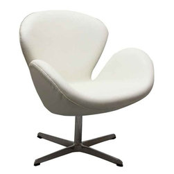 Modway - Wing Chair In White Aniline Leather - Eei-527-Whi - High Density Foam Cushioning