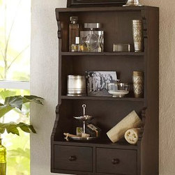 "Richford Open Wall Storage - This wall shelf/cabinet is great for storage and/or display in an office or a bathroom.  Dimensions: 20"" wide x 8.5"" deep x 35"" high. Crafted of pine with a rich amber finish, it features scrollwork detail along the sides and two simple pullout drawers at the bottom. Rustic distressed wood finish. Sealed with lacquer for moisture resistance."