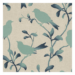 Aqua Bird Silhouette Cotton Fabric - Aqua & blue stenciled bird print on natural-colored heathered cotton: a modern motif that will make any room sing a new song.Recover your chair. Upholster a wall. Create a framed piece of art. Sew your own home accent. Whatever your decorating project, Loom's gorgeous, designer fabrics by the yard are up to the challenge!