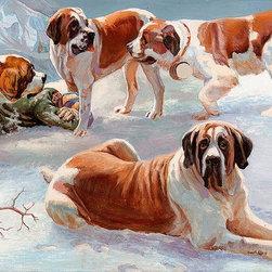 Magic Murals - Saint Bernard Dogs Wallpaper Wall Mural - Self-Adhesive - Multiple Sizes - Magic - Saint Bernard Dogs Wall Mural