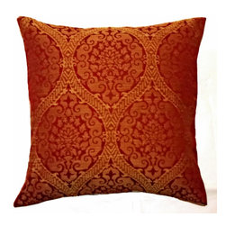 5 Surry Lane - Duralee Red Medallion Pillow - Indugle in elegance!  This ruby red woven textile is reminiscent of an ancient Chinese brocade.  Woven gold medallions elevates this pillow to all out glam.  Reverses to solid.  Down feather insert included.  Hidden zipper closure.  Made in the USA.