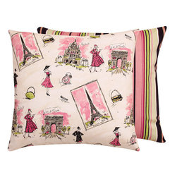 From Paris with Love & Stripes Collection Throw Pillow l Chloe and Olive - Chloe & Olive