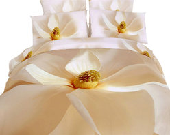 Dolce Mela - Luxury Bedding Duvet Covet Set Modern Linens Dolce Mela DM402, King - Pure, innocent and refreshing.   Vibrant magnolia flowers will cover your bed with this romantic bedding ensemble and stimulate the energy of your private retreat.