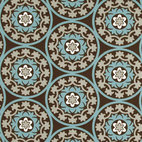 Robert Allen Suzani Azure Fabric - This symmetrical suzani print from Robert Allen offers a clean look with a bold pattern.