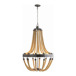 Arteriors - Vic Chandelier - This shipshape chandelier will suit your beach house or any other casual setting. The traditional silhouette features such updated elements as thick swags of twisted jute rope and bronze-finished iron hardware.