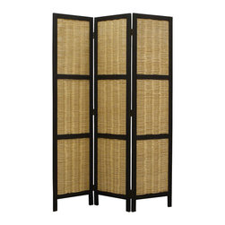 HUDSON SCREEN - 3 panel paulownia black fram with natural  willow screen. It's can be used indoor/covered out door setting.