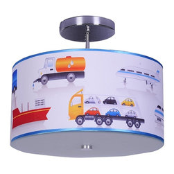 Speed of Light ceiling light - This cute ceiling light, with its drum cylinder shade, will assist in creating a friendly, playful environment in any boy's room or nursery.
