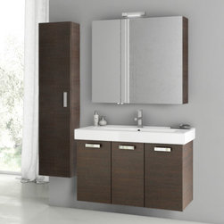 ACF - 40 Inch Wenge Bathroom Vanity Set - Begin your bathroom re-design with this Italian made vanity set by designer ACF. It is a 37 inch vanity that includes a three door vanity cabinet, bathroom sink, medicine cabinet and tall storage cabinet. It is a wall mounted set with a contemporary design and comes in a wenge finish. Set Includes:. Vanity Cabinet (3 Doors). High-end fitted ceramic sink. Wall mounted medicine cabinet. Tall storage cabinet. Vanity Set Features . Vanity cabinet made of engineered wood. Cabinet features waterproof panels. Vanity cabinet in wenge finish. Vanity cabinet features three easy-to-open doors. Chrome door handles elegantly complete vanity surface. Faucet not included. Perfect for modern bathrooms. Made and designed in Italy. Includes manufacturer 5 year warranty.