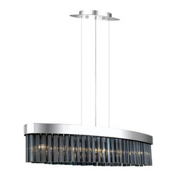 Eglo - Eglo 90412A 7 Light 1 Tier Chandelier from the Faenza Collection - (Bulbs Includ - Eglo 90412A Faenza 7 Light 1 Tier ChandelierDare to be different with this chandelier from the Faenza Collection. Featuring Oval Shaped Smoked Glass forming a curtain hanging from Chrome Finish hardware, this fixture is sure to become the central focus of any room and the topic of conversation for your guests.Eglo 90412A Features: