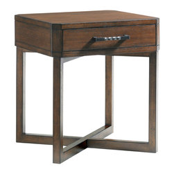 Lexington - Lexington 11 South Cosmo Lamp Table 456-955 - Chiseled corners angle perfectly with the x-base for a fresh take on contemporary lines. The twisted bar pull opens the drawer with ease and keeps important items within reach yet out of site.