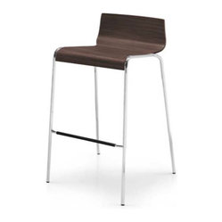Calligaris - Online Counter Stool, Satin Finished Steel - Why don't you sit down and stay awhile? A curved oak seat with a rich brown finish provides the perfect counterpoint to gleaming stainless steel. With such style, you'll definitely stay a little longer.