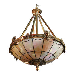 Architectural Archive - Bronze Americana Liberty Freedom Chandelier - Subtly show your patriotic side with this elaborate bronze chandelier. Finely crafted from opaque pressed glass that features colored streaks and a marbled appearance, this impressive ceiling fixture is anchored by a decorative end cap and a bronze band evocative of the art nouveau style of design.