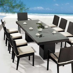 Outdoor Dining - Patio Dining Set - Strong, durable and super modern looking outdoor dining set. UV-resistant with custom color water-repellent foam cushion covers. Table comes with glass top and 10 chairs.