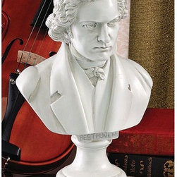 Design Toscano - Design Toscano 13.5 in. Great Composer Collection: Beethoven Sculpture - EU5647 - Shop for Sculptures Statues and Figurines from Hayneedle.com! The great composer Beethoven is captured in this handsome Design Toscano 13.5 in. Great Composer Collection: Beethoven Sculpture. It is cast designer resin and finished in faux stone. About Design ToscanoDesign Toscano is the country's premier source for statues and other historical and antique replicas which are available through the company's catalog and website. Design Toscano's founders Michael and Marilyn Stopka created Design Toscano in 1990. While on a trip to Paris the Stopkas first saw the marvelous carvings of gargoyles and water spouts at the Notre Dame Cathedral. Inspired by the beauty and mystery of these pieces they decided to introduce the world of medieval gargoyles to America in 1993. On a later trip to Albi France the Stopkas had the pleasure of being exposed to the world of Jacquard tapestries that they added quickly to the growing catalog. Since then the company's product line has grown to include Egyptian Medieval and other period pieces that are now among the current favorites of Design Toscano customers along with an extensive collection of garden fountains statuary authentic canvas replicas of oil painting masterpieces and other antique art reproductions. At Design Toscano attention to detail is important. Travel directly to the source for all historical replicas ensures brilliant design.