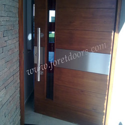 Modern contemporary entry doors - Solid wood contemporary door with stainless steel stripe, glass and stainless steel pull