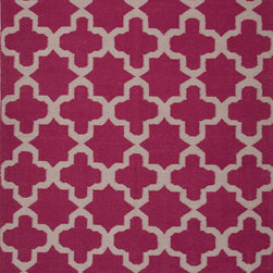 Jaipur Rugs - Flat Weave Geometric Pattern Pink /Purple Wool Handmade Rug - MR58, 5x8 - An array of simple flat weave designs in 100% wool - from simple modern geometrics to stripes and Ikats. Colors look modern and fresh and very contemporary.