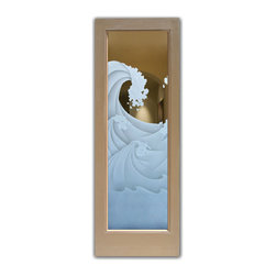 """High Seas 3D Glass Front Doors - Glass Entry Doors Sandblast Frosted Glass Desig - Glass Front Doors, Entry Doors that Make a Statement! Your front door is your home's initial focal point and glass doors by Sans Soucie with frosted, etched glass designs create a unique, custom effect while providing privacy AND light thru exquisite, quality designs!  Available any size, all glass front doors are custom made to order and ship worldwide at reasonable prices.  Exterior entry door glass will be tempered, dual pane (an equally efficient single 1/2"""" thick pane is used in our fiberglass doors).  Selling both the glass inserts for front doors as well as entry doors with glass, Sans Soucie art glass doors are available in 8 woods and Plastpro fiberglass in both smooth surface or a grain texture, as a slab door or prehung in the jamb - any size.   From simple frosted glass effects to our more extravagant 3D sculpture carved, painted and stained glass .. and everything in between, Sans Soucie designs are sandblasted different ways creating not only different effects, but different price levels.   The """"same design, done different"""" - with no limit to design, there's something for every decor, any style.  The privacy you need is created without sacrificing sunlight!  Price will vary by design complexity and type of effect:  Specialty Glass and Frosted Glass.  Inside our fun, easy to use online Glass and Entry Door Designer, you'll get instant pricing on everything as YOU customize your door and glass!  When you're all finished designing, you can place your order online!   We're here to answer any questions you have so please call (877) 331-339 to speak to a knowledgeable representative!   Doors ship worldwide at reasonable prices from Palm Desert, California with delivery time ranges between 3-8 weeks depending on door material and glass effect selected.  (Doug Fir or Fiberglass in Frosted Effects allow 3 weeks, Specialty Woods and Glass  [2D, 3D, Leaded] will require approx. 8 w"""