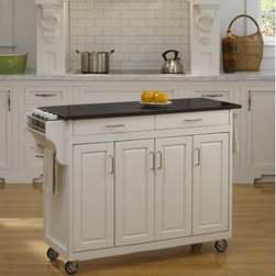 """Home Styles - Create-a-Cart Kitchen Cart with Granite Top - Features: -Convenient spice rack on one side.-Stainless steel towel bar on the other side.-Three spacious storage cabinets.-Adjustable shelves behind four wood framed doors.-Two spacious easy open drawers on metal drawer glides.-Four heavy duty industrial grade rubber casters (two locking).-Easy to assemble.-Cart constructed of solid wood.-Product Type: Kitchen Cart.-Collection: Create-a-Cart.-Counter Finish: Granite.-Hardware Finish: Brushed Steel.-Distressed: No.-Powder Coated Finish: No.-Gloss Finish: No.-Base Material: Wood.-Counter Material: Black Granite.-Hardware Material: Brushed Steel.-Number of Items Included: 1.-Water Resistant or Waterproof Cushions: No.-Stain Resistant: No.-Warp Resistant: No.-Exterior Shelves: No.-Drawers Included: Yes -Number of Drawers: 2.-Push Through Drawer: No..-Cabinets Included: Yes -Number of Cabinets : 3.-Double Sided Cabinet: No.-Adjustable Interior Shelves: Yes.-Number of Doors: 4.-Locking Doors: No.-Door Handle Design: Linear pulls..-Towel Rack: Yes -Removable Towel Rack: No..-Pot Rack: No.-Spice Rack: Yes .-Cutting Board: No.-Drop Leaf: No.-Drain Groove: No.-Trash Bin Compartment: No.-Stools Included: No.-Casters: Yes -Locking Casters: Yes.-Removable Casters: No..-Wine Rack: No.-Stemware Rack: No.-Cart Handles: No.-Finished Back: Yes.-Commercial Use: No.-Recycled Content: No.-Eco-Friendly: No.-Product Care: Clean with a damp cloth.Specifications: -ISTA 3A Certified: Yes.Dimensions: -Overall Height - Top to Bottom: 34.75"""".-Overall Width - Side to Side: 48.75"""".-Overall Depth - Front to Back: 17.75"""".-Width Without Side Attachments: 44.5"""".-Countertop Thickness: 0.75"""".-Countertop Width - Side to Side: 44.5"""".-Countertop Depth - Front to Back: 17.5"""".-Shelving: -Shelf Width - Side to Side (End Cabinet Shelves) : 8.5"""".-Shelf Width - Side to Side (Center Cabinet Shelves) : 18"""".-Shelf Depth - Front to Back: 14.5""""..-Leaf: No.-Drawer: -Drawer Interior Height - Top to Bottom: 1"""