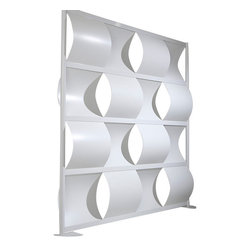 "LOFTwall - Loft Wall Wave Partition LWW6, 76"" Wide - The 76"" wide Loft wall Room Partition is four panels tall and four panels wide. Perfect for creating privacy within a larger room, this room divider features an aluminum frame with plastic wave-shaped panels."