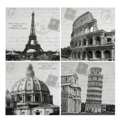 Oriental Furniture - Iconic Europe Canvas Wall Art - Set of 4 - Four lovely, classic European architectural icons from France and Italy; Paris' Eiffel Tower, Pisa's Leaning Tower, Rome's ancient coliseum, and the dome of the Sistine Chapel. Classic black and white photographs, double exposed with intriguing turn of century postcard stamps, postmarks, and cursive writing. Black and white photography is an art form that has out lasted all technological advances since the advent of Daguerreotypes.