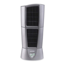 Lasko Products - Platinum Desktop Wind Tower - Platinum Desktop Wind Tower is the perfect companion for your days at the office. You won t sweat the deadlines with the Platinum Desktop Wind Tower . Its pivoting top module enables air movement in two stationary directions and its oscillation feature provides even greater coverage to keep you refreshed. All the coverage you need in a slim 6 diameter fan. Its unique look will make your coworkers envious and its amazing performance will keep you cool. Perfect in your home too! Pivoting Top Module for Precision Air Delivery. Optional Oscillation for greater coverage. Space-Saving Desktop Size 6 Diameter. Front-Mounted Electronic Controls. Three Refreshing Speeds. Fully Assembled for Immediate Use. U.L. Listed.