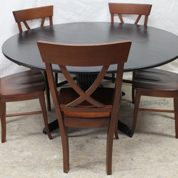 60 round dining table fluted pedestal base - Made by www.ecustomfinishes.com