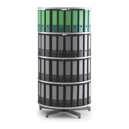 Empire Office Solutions - Moll Deluxe Binder and File Storage Carousel - Four Tier in Graphite Wood - This four tier rotary binder carousel turns in a full rotation. Turn the carousel to find the binder or media you need. The 32-inch diameter unit offers abundant storage in a small area.