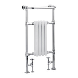 Hudson Reed - Traditional Hydronic Towel Warmer 19.5 x 37 Chrome & White Radiator - Marquis Traditional Heated Towel Radiator - frame manufactured from quality chrome plated 1.25 inches brass tubing for a true period look incorporating a 4 column white period style radiator. Ideal for use in the bathroom, kitchen, cloakrooms etc. Dimensions:  19.5 x 37.2 (W x H) Pipe Centres 10.43 inches when used with Hudson Reed radiator Valves (included) Tube Diameter 1.25 inches Maximum Projection From Wall 8.86 inches  Floor to Centre of Tapping 4.13 inches Wall to Centre of Tapping 3.94 inches Output at 60(deg)C 1875 BTU's, 548 watts  Comes Complete with fixing screws  PLEASE NOTE: This Towel Warmer is designed to be connected to a closed loop hot water central heating system and is not compatible with electric heating elements.Bathroom heated towel rails combining classic towel radiator styling and functionality. A must for all bathrooms, heated towel rails provide comfort and relaxation. Co-ordinate with our classic taps and showers to recreate the charm of yesteryear. White parts of radiator are steel. Hydronic towel rails are designed to be connected to a re-circulating hot water systemWarranty: 10 yearsWe supply direct to customers in 10 different countries, only online. Please Note: Our radiators are designed for forced circulation closed loop systems only. They are not compatible with open loop, gravity hot water or steam systems.