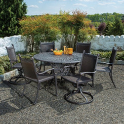 Alfresco Home Anchor All Weather Wicker Round Dining Set - *Material: Cast Aluminum & All Weather Wicker